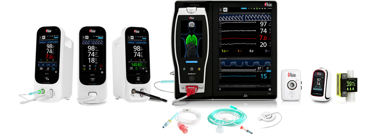Masimo Portfolio - Rad-97™ with NomoLine Capnography, Rad-97, Rad-97 with Noninvasive Blood Pressure, Root® with ISA™ CO2, MightySat Rx, EMMA® NomoLine™ Sampling Lines, RAS-45 Sensor